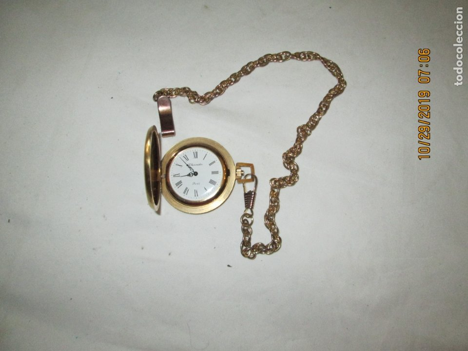 Relojes de bolsillo: RELOJ DE BOLSILLO THERMIDOR PARÍS - CON CADENA - FUNCIONANDO. - Foto 3 - 181524317