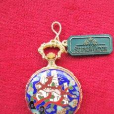 Relojes de bolsillo: RELOJ DE BOLSILLO SUPERWATCH CHAPADO EN ORO CON TAPA ESMALTADA CON BONITA ESCENA DE CIERVO,DE CUERDA. Lote 181553117