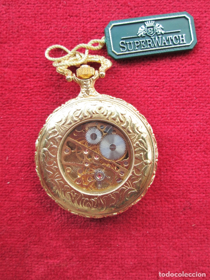 Relojes de bolsillo: RELOJ DE BOLSILLO SUPERWATCH CHAPADO EN ORO CON TAPA ESMALTADA CON BONITA ESCENA DE CIERVO,DE CUERDA - Foto 2 - 181553117