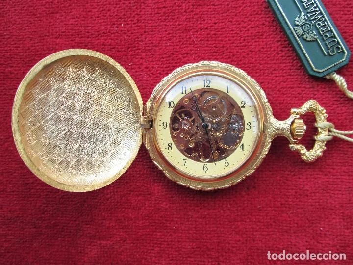 Relojes de bolsillo: RELOJ DE BOLSILLO SUPERWATCH CHAPADO EN ORO CON TAPA ESMALTADA CON BONITA ESCENA DE CIERVO,DE CUERDA - Foto 3 - 181553117