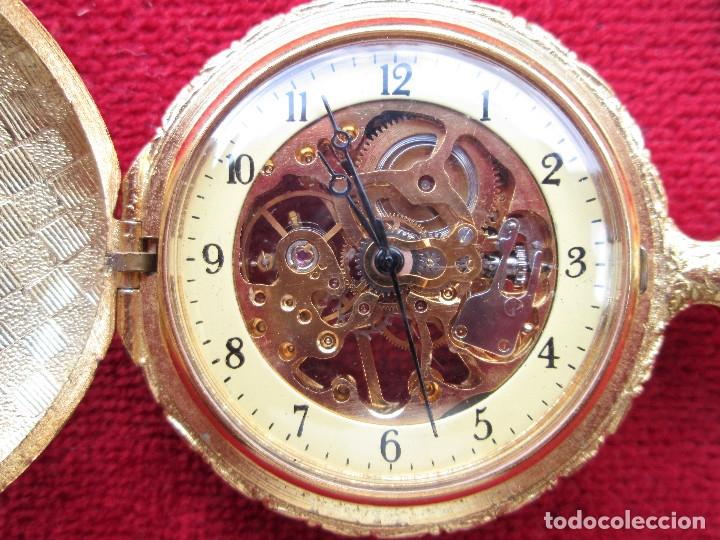 Relojes de bolsillo: RELOJ DE BOLSILLO SUPERWATCH CHAPADO EN ORO CON TAPA ESMALTADA CON BONITA ESCENA DE CIERVO,DE CUERDA - Foto 4 - 181553117