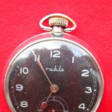 Relojes de bolsillo: RELOJ DE BOLSILLO RUHLA PLATEADO DE CUERDA MANUAL - FUNCIONANDO - ESFERA NEGRA. MADE IN SUIZA. Lote 181556560