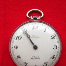 Relojes de bolsillo: RELOJ DE BOLSILLO DELPHINE PLATEADO DE CUERDA MANUAL - FUNCIONANDO -. Lote 181557276