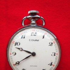 Relojes de bolsillo: RELOJ DE BOLSILLO C. CHOTTAT PLATEADO DE CUERDA MANUAL - FUNCIONANDO - . Lote 181557716