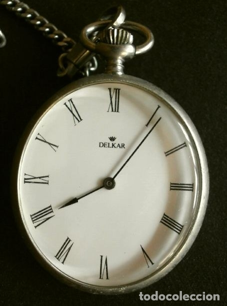 RELOJ DE BOLSILLO CON LEOTINA MARCA DELKAR - POSIBLEMENTE PLATA - CARGA MANUAL (Relojes - Bolsillo Carga Manual)