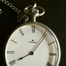Relojes de bolsillo: RELOJ DE BOLSILLO CON LEOTINA MARCA DELKAR - POSIBLEMENTE PLATA - CARGA MANUAL. Lote 181623985