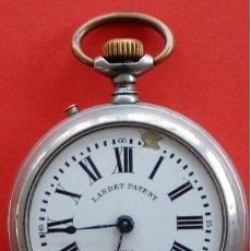 Relojes de bolsillo: RELOJ DE BOLSILLO ANTIGUO DE PLATA, CARGA MANUAL. LARDET PATENT. EN ESTADO DE MARCHA. . Lote 182003403