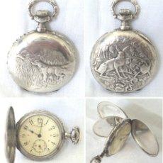 Relojes de bolsillo: RELOJ DE BOLSILLO LONGINES GRAND PRIX PARIS 1900 DE PLATA 3 TAPAS PERRO CONEJO AVES PLANTAS FUNCIONA. Lote 182082522