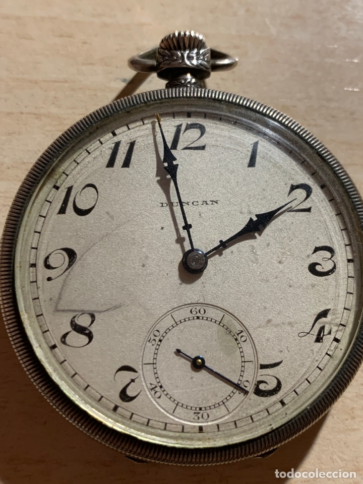 ANTIGUO RELOJ DE BOLSILLO DE PLATA ART- DECÓ DUNCAN (Relojes - Bolsillo Carga Manual)