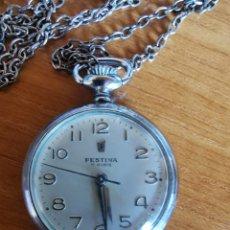 Relojes de bolsillo: RELOJ DE BOLSILLO FESTINA 17 RUBIS TIPO MONJA 30 MM FUNCIONA CON CADENA. Lote 182620261