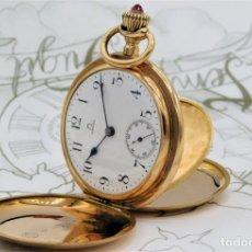 Relojes de bolsillo: OMEGA-DE ORO 18K-IMPRESIONANTE RELOJ DE BOLSILLO-SABONETA-CIRCA 1893-FUNCIONANDO. Lote 182888212