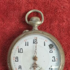 Relojes de bolsillo: RELOJ DE BOLSILLO. CAJA DE METAL PLATEADO. TIPO LEPÌNE SUIZA. SIGLO XX. . Lote 182968795