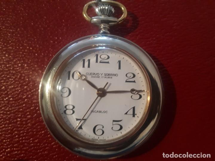 FANTÁSTICO RELOJ DE BOLSILLO CUERVO Y SOBRINOS (CARGA MANUAL) (Relojes - Bolsillo Carga Manual)