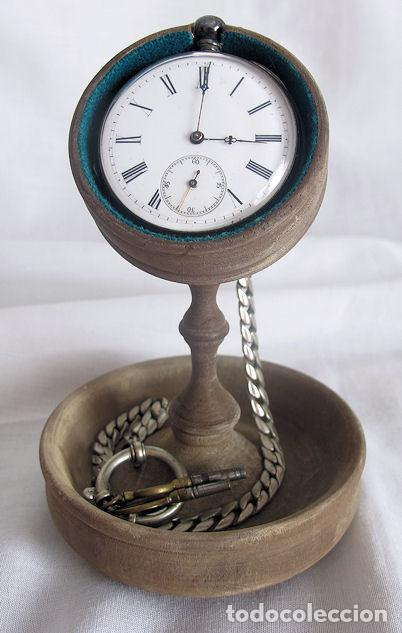 RELOJ DE BOLSILLO ANTIGUO PLATA CON RELOJERA Y LEONTINA REVUE THOMMEN SIGLO XIX (Relojes - Bolsillo Carga Manual)