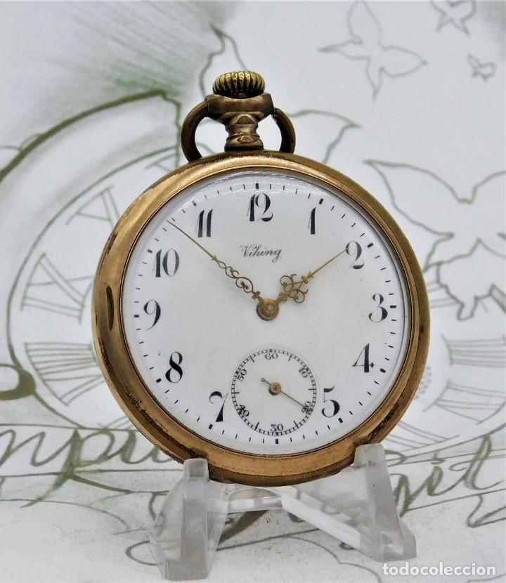 Relojes de bolsillo: VIKING-CORTEBERT-RELOJ DE BOLSILLO-SUIZA-CON LEONTINA-CIRCA 1920-1930 -FUNCIONANDO - Foto 7 - 183799480