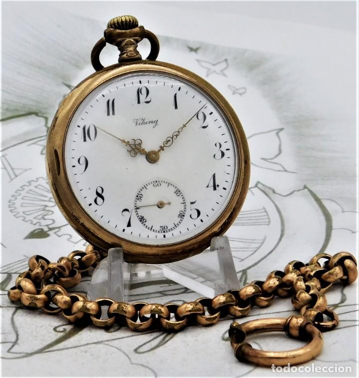 VIKING-CORTEBERT-RELOJ DE BOLSILLO-SUIZA-CON LEONTINA-CIRCA 1920-1930 -FUNCIONANDO (Relojes - Bolsillo Carga Manual)
