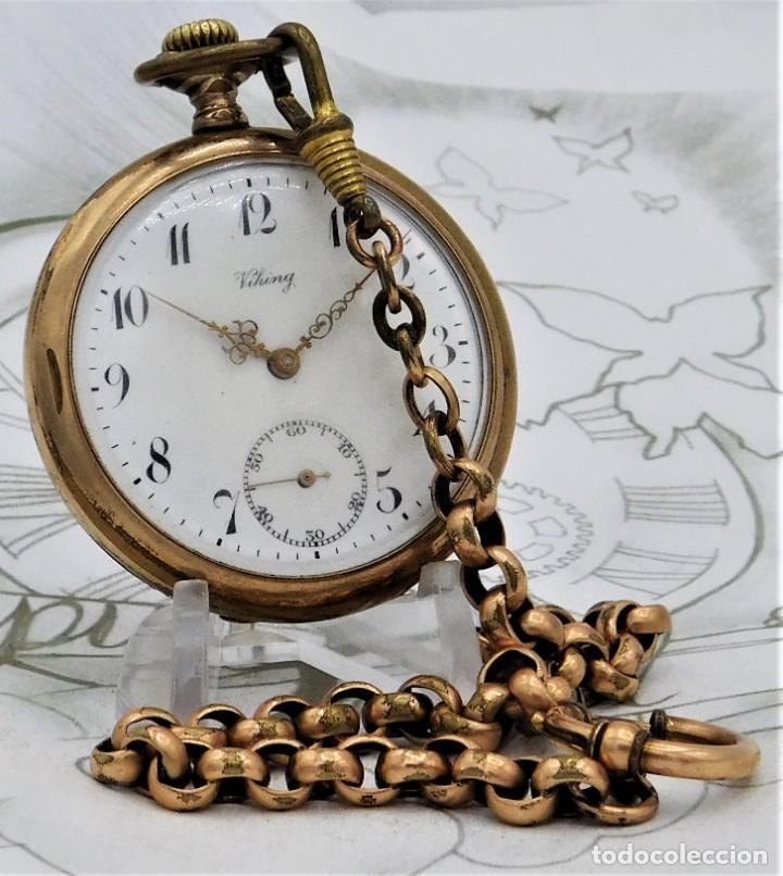 Relojes de bolsillo: VIKING-CORTEBERT-RELOJ DE BOLSILLO-SUIZA-CON LEONTINA-CIRCA 1920-1930 -FUNCIONANDO - Foto 19 - 183799480