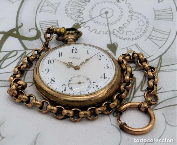 Relojes de bolsillo: VIKING-CORTEBERT-RELOJ DE BOLSILLO-SUIZA-CON LEONTINA-CIRCA 1920-1930 -FUNCIONANDO - Foto 16 - 183799480