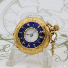 Relojes de bolsillo: PRECIOSO RELOJ DE BOLSILLO CAZADOR DE ORO 18K-3 TAPAS-CIRCA 1890-1900-FUNCIONANDO. Lote 184007187
