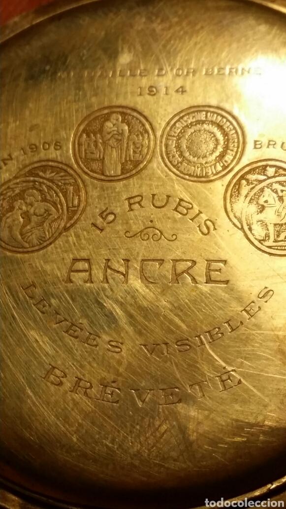Relojes de bolsillo: Antiguo reloj de bolsillo marca travail medalla de oro - Foto 4 - 184076093