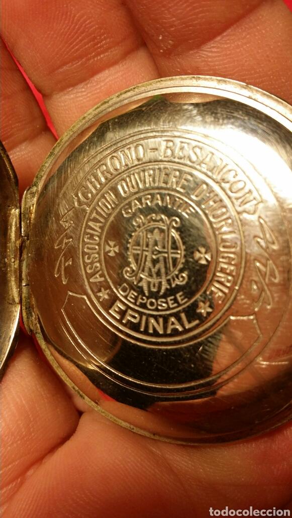 Relojes de bolsillo: Antiguo reloj de bolsillo marca chrono besançon a epinal - Foto 4 - 184083081