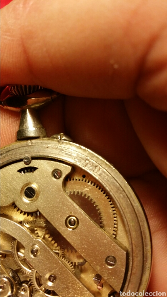 Relojes de bolsillo: Antiguo reloj de bolsillo marca chrono besançon a epinal - Foto 6 - 184083081