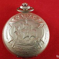 Relojes de bolsillo: RELOJ RUSO MOLNIJA HECHO EN 1992 PARA CONMEMORAR EL Vº CENTANARIO DEL DESCUBRIMIENTO . Lote 184099812