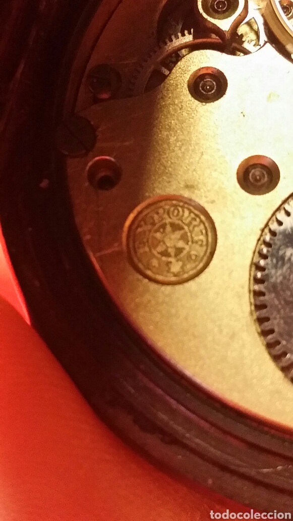 Relojes de bolsillo: Antiguo reloj de bolsillo marca acier garanty caja de hierro con incrustaciones en latón - Foto 6 - 184163548