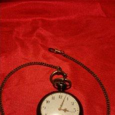 Relojes de bolsillo: ANTIGUO RELOJ DE BOLSILLO MARCA ACIER GARANTY CAJA DE HIERRO CON INCRUSTACIONES EN LATÓN. Lote 184163548