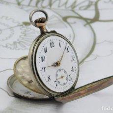 Relojes de bolsillo: RELOJ DE BOLSILLO DE PLATA BICOLOR-3 TAPAS-TIPO MONJA-CIRCA 1875-1895 -FUNCIONANDO. Lote 184730340