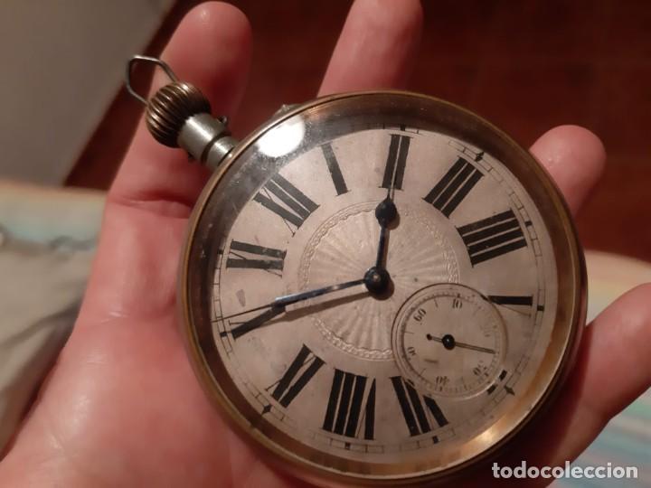 ENORME RELOJ BOLSILLO GOLIAT FUNCIONANDO RAREZA MUY BUEN ESTADO VER FOTOS NÚMEROS ROMANOS PVP 450,00 (Relojes - Bolsillo Carga Manual)