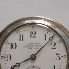 Relojes de bolsillo: ANTIGUO RELOJ DE BOLSILLO EN PLATA DE LA CASA LONGINES. Lote 185978942
