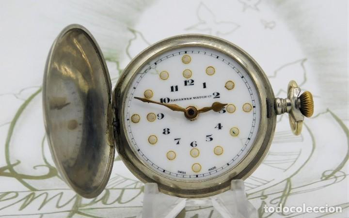 RARO-TAVANNES WATCH CO.-RELOJ DE BOLSILLO SABONETA-ESFERA BRAILLE-CIRCA 1920-3 TAPAS-FUNCIONANDO (Relojes - Bolsillo Carga Manual)