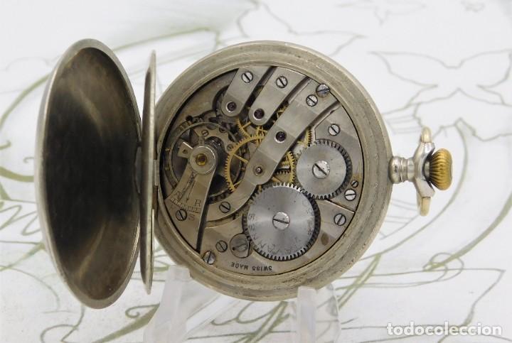 Relojes de bolsillo: RARO-TAVANNES WATCH Co.-RELOJ DE BOLSILLO SABONETA-ESFERA BRAILLE-CIRCA 1920-3 TAPAS-FUNCIONANDO - Foto 3 - 136060330