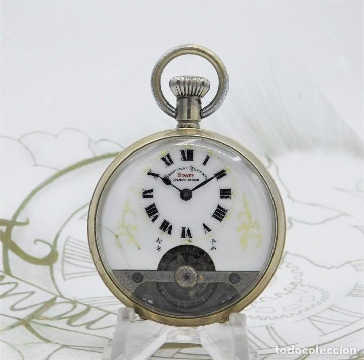 Relojes de bolsillo: HEBDOMAS-RELOJ DE BOLSILLO-8 DÍAS-CIRCA 1920-FUNCIONANDO - Foto 4 - 141717322