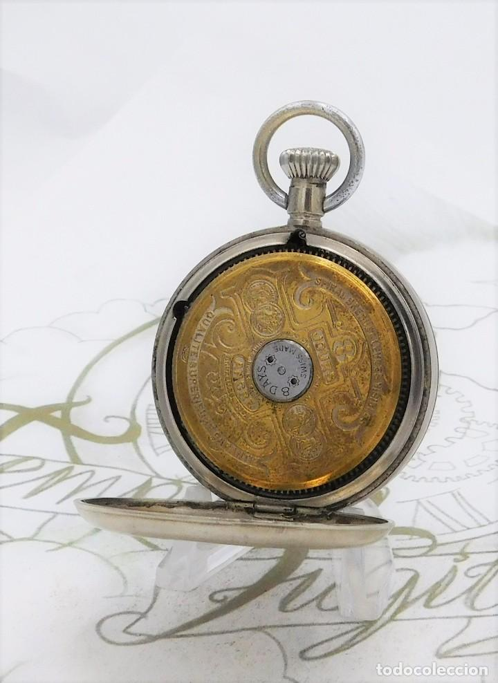 Relojes de bolsillo: HEBDOMAS-RELOJ DE BOLSILLO-8 DÍAS-CIRCA 1920-FUNCIONANDO - Foto 5 - 141717322