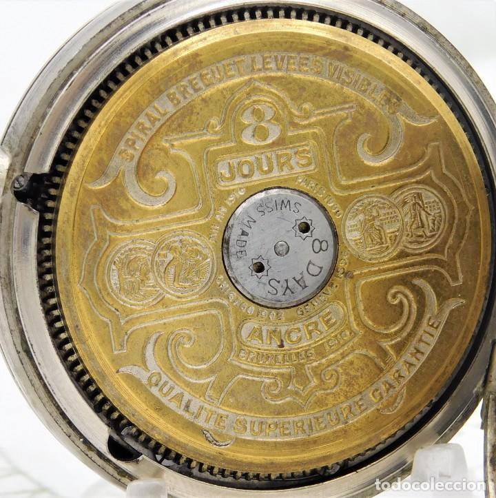 Relojes de bolsillo: HEBDOMAS-RELOJ DE BOLSILLO-8 DÍAS-CIRCA 1920-FUNCIONANDO - Foto 6 - 141717322