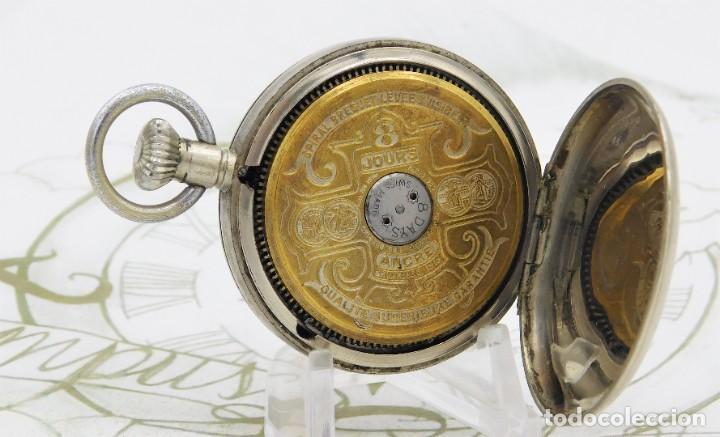 Relojes de bolsillo: HEBDOMAS-RELOJ DE BOLSILLO-8 DÍAS-CIRCA 1920-FUNCIONANDO - Foto 11 - 141717322