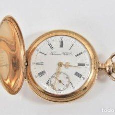 Relojes de bolsillo: MAGNIFICO ANTIGUO RELOJ BOLSILLO SABONETA TERMINADO EN ORO FIRMADO Y SELLADO TAVANNES. Lote 186359051