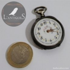 Relojes de bolsillo: ANTIGUO RELOJ DE BOLSILLO EN PLATA CONTRASTADA ESFERA PORCELANA POLICROMADA Y ORO, S XIX - XX. Lote 187543026