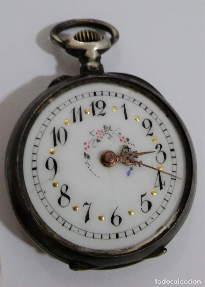 Relojes de bolsillo: ANTIGUO RELOJ DE BOLSILLO EN PLATA CONTRASTADA ESFERA PORCELANA POLICROMADA Y ORO, S XIX - XX - Foto 2 - 187543026