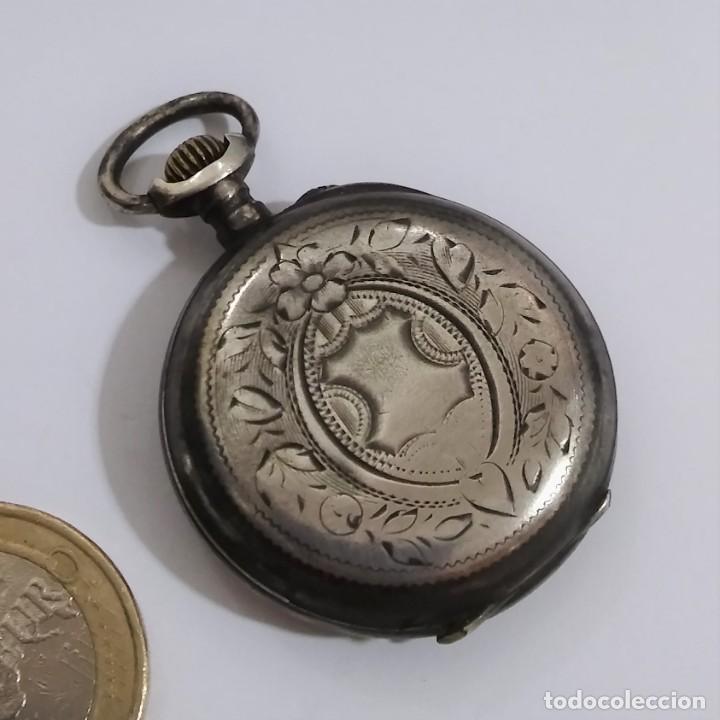 Relojes de bolsillo: ANTIGUO RELOJ DE BOLSILLO EN PLATA CONTRASTADA ESFERA PORCELANA POLICROMADA Y ORO, S XIX - XX - Foto 3 - 187543026