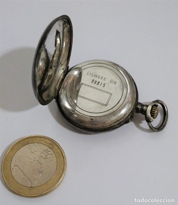 Relojes de bolsillo: ANTIGUO RELOJ DE BOLSILLO EN PLATA CONTRASTADA ESFERA PORCELANA POLICROMADA Y ORO, S XIX - XX - Foto 5 - 187543026