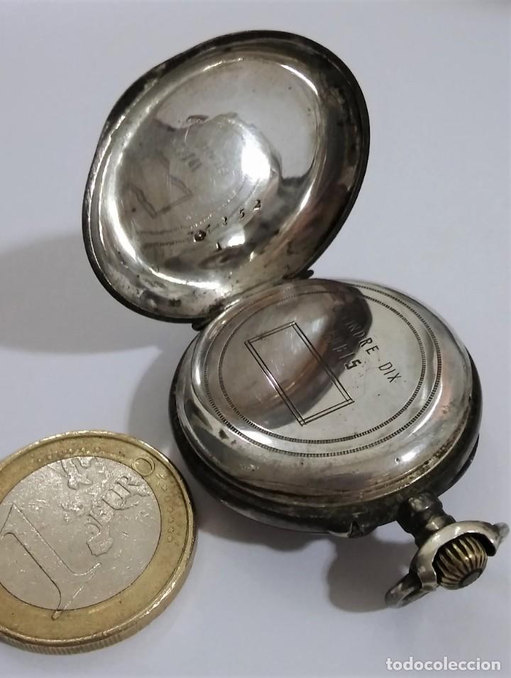 Relojes de bolsillo: ANTIGUO RELOJ DE BOLSILLO EN PLATA CONTRASTADA ESFERA PORCELANA POLICROMADA Y ORO, S XIX - XX - Foto 6 - 187543026