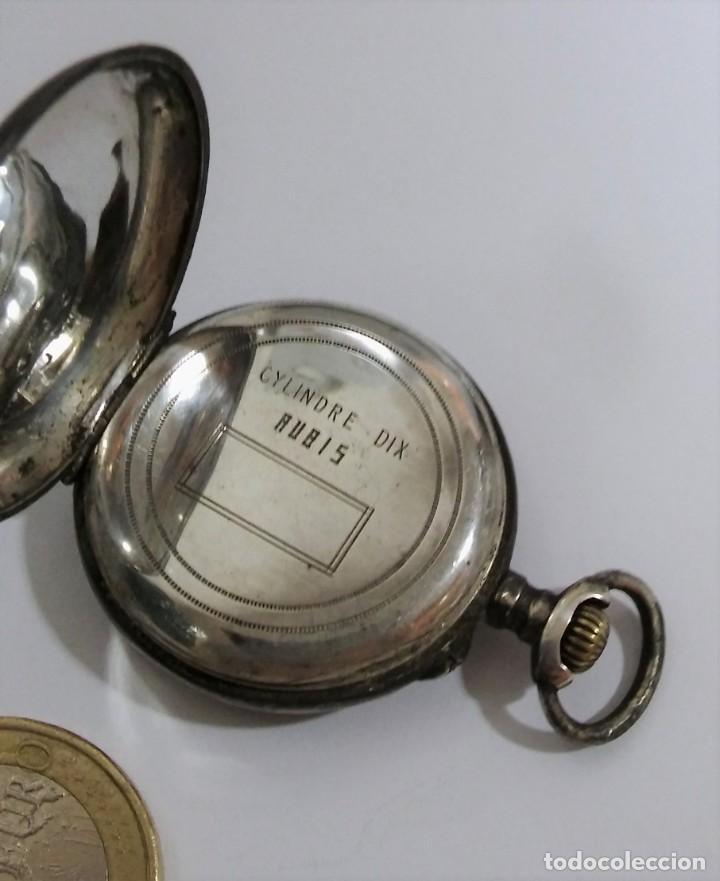 Relojes de bolsillo: ANTIGUO RELOJ DE BOLSILLO EN PLATA CONTRASTADA ESFERA PORCELANA POLICROMADA Y ORO, S XIX - XX - Foto 7 - 187543026