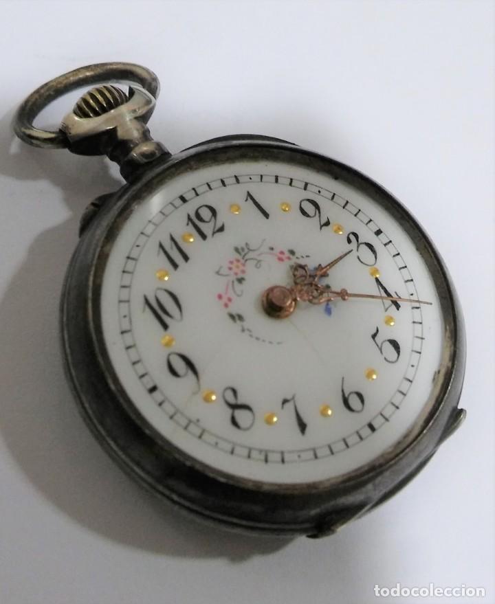Relojes de bolsillo: ANTIGUO RELOJ DE BOLSILLO EN PLATA CONTRASTADA ESFERA PORCELANA POLICROMADA Y ORO, S XIX - XX - Foto 8 - 187543026