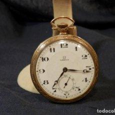 Relojes de bolsillo: RELOJ DE BOLSILLO ANTIGUO, OMEGA, CHAPADO EN ORO, 44 MM, FUNCIONANDO. Lote 187622945