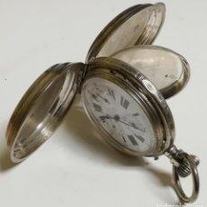 Relojes de bolsillo: RELOJ SABONETA DE BOLSILLO, CON 3 TAPAS DE PLATA Y 4 ESFERAS ESMALTADAS, ANCRE LIGNE DROITE 15 RUBIS. Lote 188460500