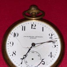 Relojes de bolsillo: ANTIGUO RELOJ DE BOLSILLO CRONOMETRO MODERNO QUILLET. FUNCIONA. Lote 189770865