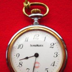Relojes de bolsillo: RELOJ DE BOLSILLO CARGA MANUAL - SUPERWACH - SIN ESTRENAR - PATENTE ROSKOPF - FUNCIONA. Lote 190425998